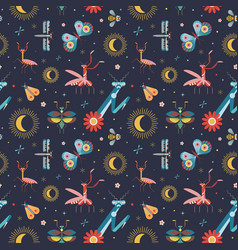 Meadow insects geometric pattern vector