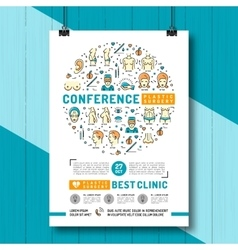 medical poster conference and exhibition of vector image