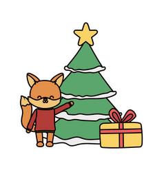 merry christmas celebration cute fox season party vector image