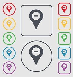 Minus Map pointer GPS location icon sign symbol on vector image