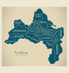 Modern city map - freiburg city of germany with vector
