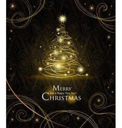 Modern golden Christmas tree vector