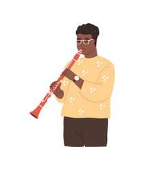 modern musician playing clarinet black-skinned vector image