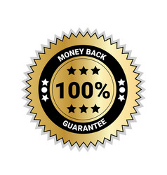 money back with 100 percent guarantee seal golden vector image
