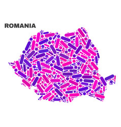 Mosaic romania map of dots and lines vector