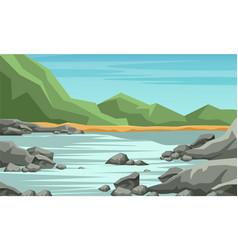 Mountain valley flat vector