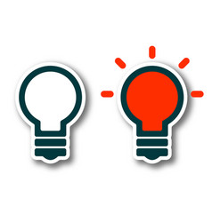 on off light bulb lamp with shadow isolated on vector image