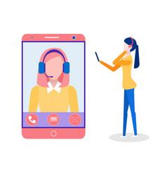 Online education student talking to teacher online vector