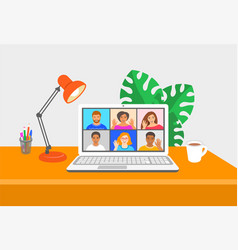 online video conference computer at home vector image