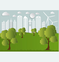 paper art of city with trees and clouds ecology vector image