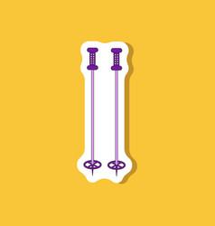 Paper sticker on stylish background ski poles vector