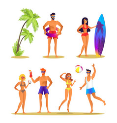 people and summer activities vector image