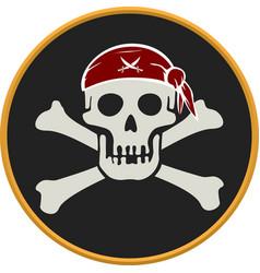 Pirate circular emblem with text skull and bones vector