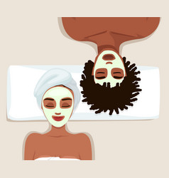 Portrait couple with clay facial masks vector