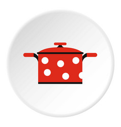 pot with red polka dots icon flat style vector image