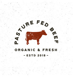 premium fresh beef label retro styled meat shop vector image