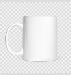 realistic white cup isolated on white background vector image