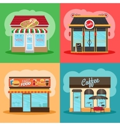 Restaurant or fast food store front vector