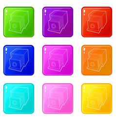 retro camera icons set 9 color collection vector image