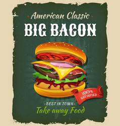 retro fast food bacon burger poster vector image