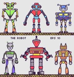 Retro Robot Collection vector image