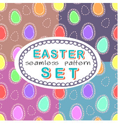 seamless easter pattern set with four patterns vector image