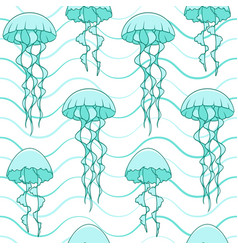 seamless pattern with jellyfish and waves vector image