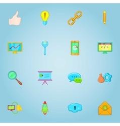 SEO optimization icons set cartoon style vector image
