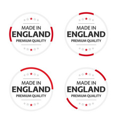 set four english icons made in england vector image