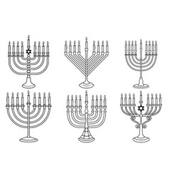set hanukkah candle in engraving style vector image