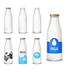 set icons glass bottles with a milk in a vector image