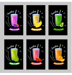 Set of cards with different smoothies on a black vector