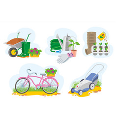 set of colorful gardening picture vector image