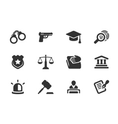 Set of justice and police icons vector image