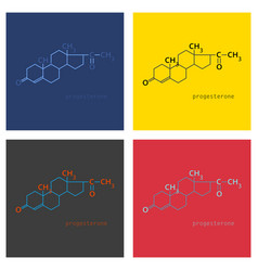 Set of progesterone molecule structure vector