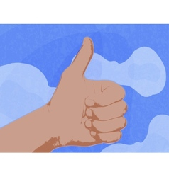 shows a thumbs up as a symbol against the blue sky vector image vector image