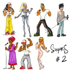 Singers - part 2 Hand drawn collection vector image