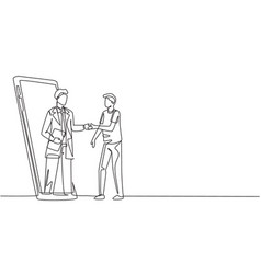 single one line drawing male patient shaking vector image