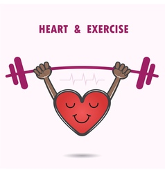 Smile heart shape with the barbell on background vector image