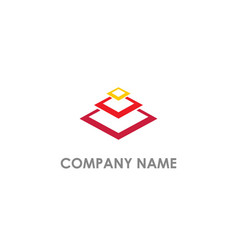 Square layer geometry company logo vector