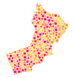 Star mosaic map of yemen vector