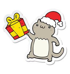 sticker of a cute cartoon christmas cat vector image