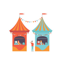 Street vendor booths with fast food market food vector