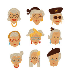 stylish grandma s faces picture set doodle hand vector image