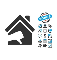 Terrible House Flat Icon with Bonus vector image