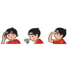 Three senses Children of boy vector