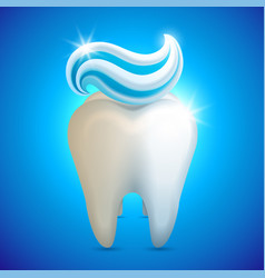 Tooth whith toothpaste teeth vector