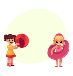 Two girls playing on beach with inflatable ring vector