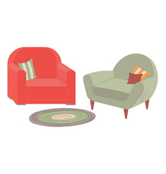 two retro armchairs with couches carpet on floor vector image