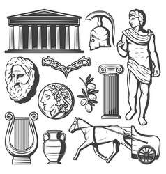 Vintage ancient greece elements set vector